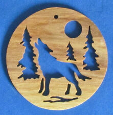 Howling Wolf Christmas Ornament - Hand Cut From Ash
