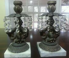 BRONZE AND MARBLE CHERUB CANDLE STICK HOLDERS MADE IN ITALY