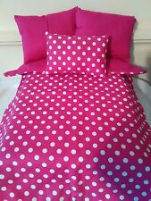 """Bright Pink White Polka Dots 4 Piece Bedding Set for 18"""" Doll American Handmade"""