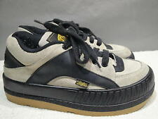 WOMENS 40 / US 9.5-10 BUFFALO SPAIN GRAY/BLACK LEATHER PLATFORM SKATE SNEAKER