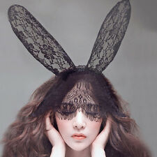 Costume Party Lace Rabbit Bunny Long Ears  Veils On Headband Hairband Dress