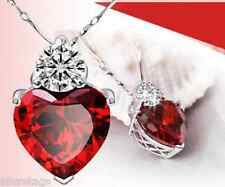 WOMEN SILVER RED CRYSTAL SMALL HEART PENDANT CHAIN JEWELRY ACCESORY NECKLACE