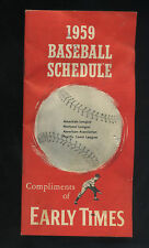 1959 BASEBALL SCHEDULE EARLY TIMES BOURBON 32 PAGES - RARE