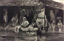 Les lavandières lithographie de Loutrel éditée par l' Artiste en 1850