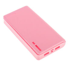 Pink-20000mah Power Bank Case 6x18650 Battery Box Charger Emergency Light