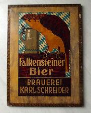 Saturn  Holz-Plakat Falkensteiner Bier Brauerei Karl Schreider b.Kronach