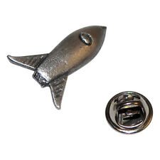 Retro Sky Rocket Space British Pewter Pin Badge Tie Pin / Lapel Badge XDHLP1333