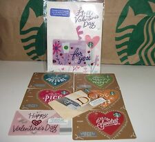 STARBUCKS Gift Card Set 2017 Valentine's Day Greeting Card LOT 7 NEW + DC Card