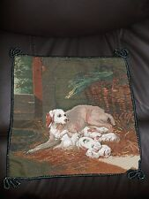 """14""""x14"""" Dog and Puppies Handmade Needlepoint Petite Point Pillow"""