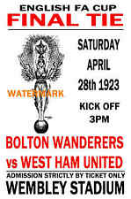1923 FA CUP FINAL - BOLTON WANDERERS (WINNERS) V WEST HAM - VINTAGE STYLE POSTER