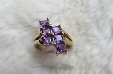 9CT 375 Yellow Gold Twist Six Square Cut Amethyst Ring Size N