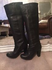 Black Leather Knee Boots Size 6 Topshop