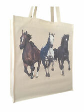 Galloping Horse Equestrian Cotton Shopping Bag Tote Long Handles Perfect Gift