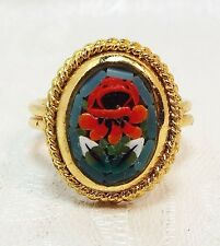 Vintage / Gold Ring with Micro Mosaic Rose Rose Pattern / Size M N O Italian