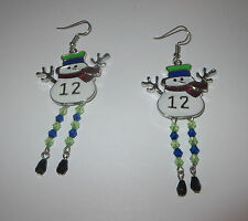 12 Snowman Earrings Seattle Football Fans Bead Legs Stick Arms Fish Hook Pierced