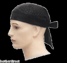 MOTORBIKE SOFT LEATHER AIR HEAD WRAP NET BLACK BANDANA CAP MOTORCYCLE DU-RAG UK