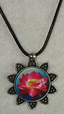 Glass Lotus Flower Ornament Antique Silver Pendant With Leather Necklace J311