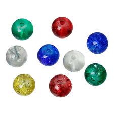 20 Perles en Verre Craquelé 6mm perle fissuré creation bijoux, collier, bracelet