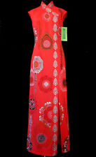 Vintage RED SHAHEEN DRESS Original Tag Exotic Asian Gown Slit Iconic Signature