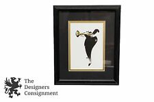 Abstract Jazz Silhouette Art Print Man with Trumpet Jazz Music Framed Vtg
