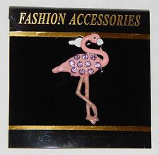 NWT WOMEN'S BROOCH/PIN- PINK FLAMINGO WITH PINK RHINESTONES, WHITE & BLACK BILL