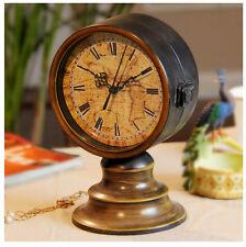 Vintage Double Sided Desk top Table Clock Decorative Antique Bronze Mantel Clock
