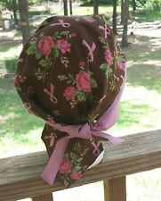 BREAST CANCER BROWN & PINK RIBBON & ROSES DU RAG SKULL CHEMO CAP WRAP