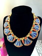 RARE 1960'S CROWN TRIFARI EGYPTIAN REVIVAL KING TUT COLLAR NECKLACE EARRINGS SET