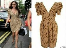 Topshop Vintage Bubble Sleeve Polka Dot Tulip Tea Dress - Tan UK8
