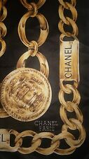 Vintage Chanel Black and Gold Chain Print Silk Scarf Large 34 inch square 70's