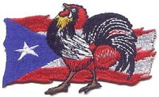 """10 Rooster on Puerto Rico Flag Embroidered Patches 2.75""""x4.5"""""""