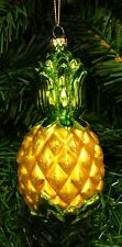 HAND BLOWN GLASS PINEAPPLE TROPICAL FRUIT CHRISTMAS TREE ORNAMENT WELCOME SYMBOL
