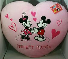 "MICKEY MINNIE MOUSE Pink Heart Pillow 16x18"" Velour DISNEY Valentine Gift"