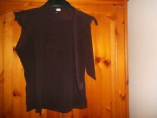 Brown semi sheer cap sleeve top, scarf detail, H&M (DIVIDED), size 10, excellent