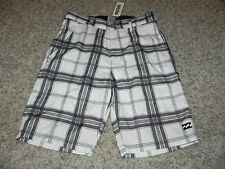 BILLABONG MENS SZ 28 SWIM CASUAL BOARD SHORTS WHITE PLAID NWT $44.50
