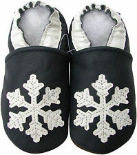 carozoo snowflake dark blue 3-4t soft soled leather baby shoes