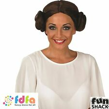LADIES PRINCESS LEIA WARS RETRO BUN WIG  - womens ladies fancy dress costume