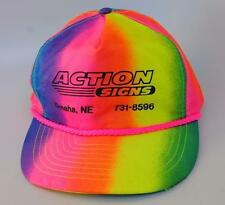 """ACTION SIGNS"" Omaha NE One Size Adjustable Rainbow-Colored Baseball Cap Hat"