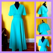 Vintage 70's Mint Green Cape Sleeve Maxi Evening Cocktail Dress UK 8 Hippy
