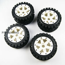 Front and Rear All terrain tyre wheel For Kingmotor Rovan HPI Baja 5B SS white P