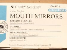 Dental Henry Schein  Mouth Mirror front surface simple stem #4  12/Box Miltex