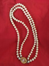 """Vintage ... FAUX Pearls and Cameo ... """"A Touch OF Elegance"""" ... 18"""" Necklace"""