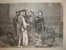 Plucking Red & White Roses Temple Garden 1871 print