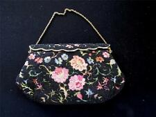 RARE COLLECTABLE VINTAGE FRENCH 1960'S BLACK BEADED HAND EMBROIDERED EVENING BAG