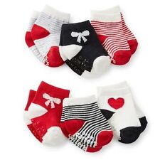 New Carter's 6 Pack Socks 3-12m NWT Holiday Red Heart Bow Stripes Red Black