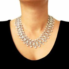 Heavy Taxco 925 Sterling Silver Large Deco Design Necklace