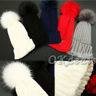 Fur Ball Child Baby Women Hat Winter Raccoon Pom Knit Beanie Ski Cap Bobble Hat
