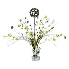 60th Birthday Spray Centrepiece Table Decoration Black Silver Gold Age 60 Party