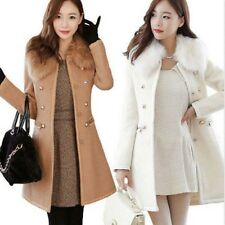 Fashion Women Double-Breasted Slim Wool Faux Fur Trench Coat Parka Winter Jacket