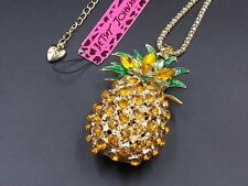 New Betsey Johnson yellow Crystal Pineapple Pendant Fruit Gold Long Necklace